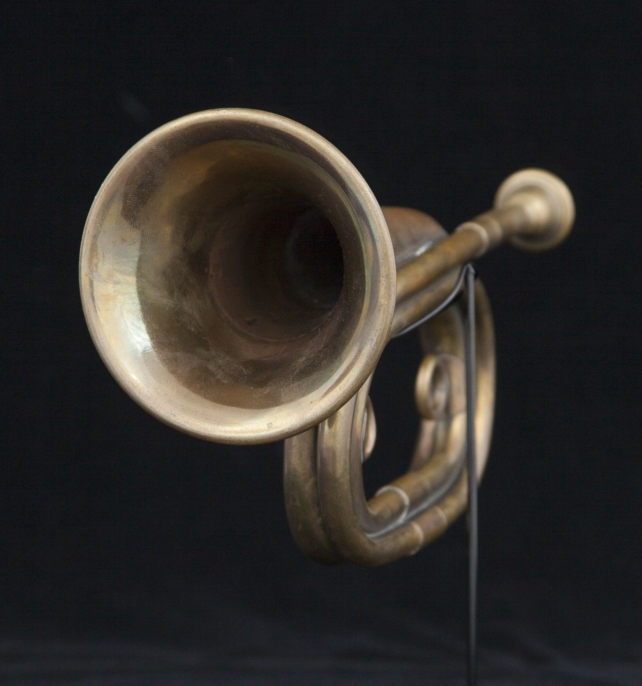 Frontal view of bugle against black background.