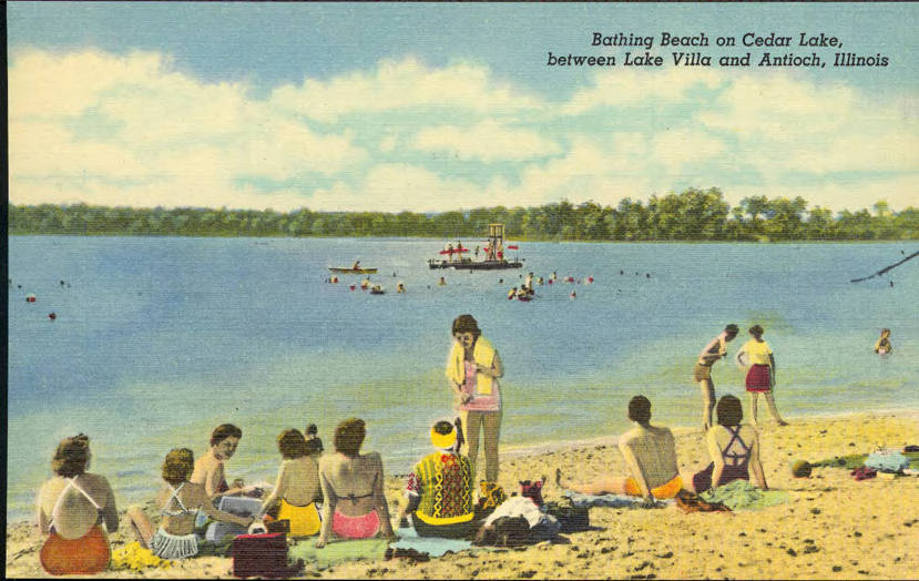 Postcard with painting of people on beach and swimming in lake