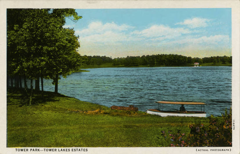 Postcard with a boat on a lake shore