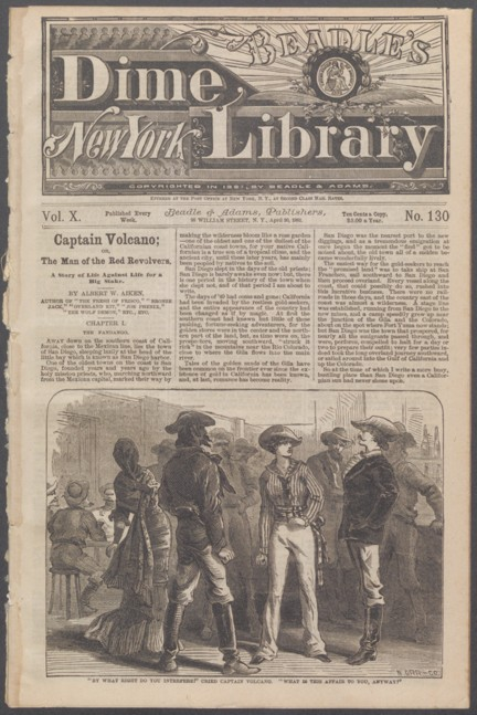 Newpaper print first page of novel featuring image of a circle of people dressed like cowboys in what appears to be a saloon