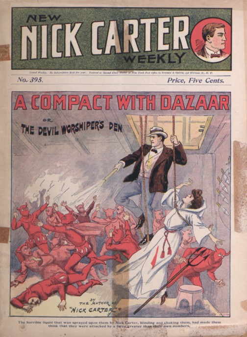 Cover art featuring a woman and man escaping on ropes out of a trap door; man firing on a group of people clad in red devil pajamas