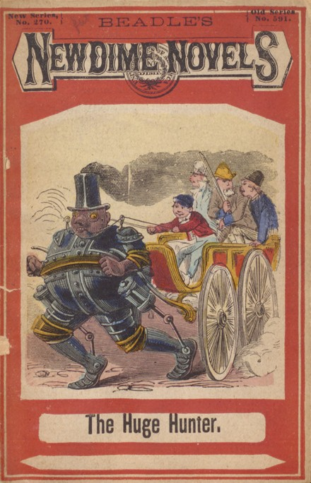 Cover art featuring a carriage of children being pulled by a human-like robot