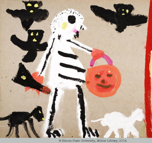 Child's painting of a trick-or-treater dressed as a skeleton