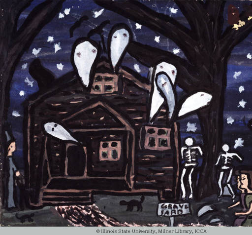 Child's painting of a haunted house with ghosts and walking skeletons