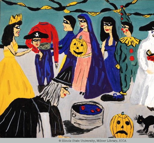 Child's painting of a Halloween costume party