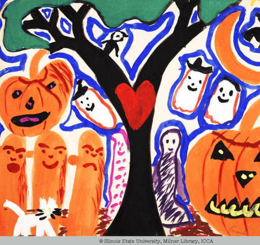 Child's drawing featuring jack-o-lanterns and ghosts.