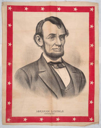 Banner featuring black-and-white etching of Abraham Lincoln