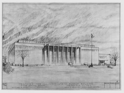 Sketch design for the Illinois State Museum featuring and impressive columned building