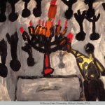 Chilren's painting depicting the lighting of a Menorah