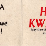 "Folded paper with the message, ""Kwanzaa is a way of life that we celebrate"" and ""Happy Kwanzaa. May the spirit of Kwanzaa guide you through each day""."