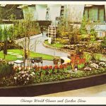 Postcard showing exhibits at the Chicago World Flower and Garden Show.