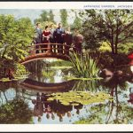 Postcard showing tourists on the bridge in the Japanese Garden in Jackson Park, Chicago, Illinois