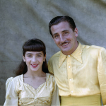 Left to right: Astrid Schlinchting and her father Ernst in matching yellow costumes and white rhinestones