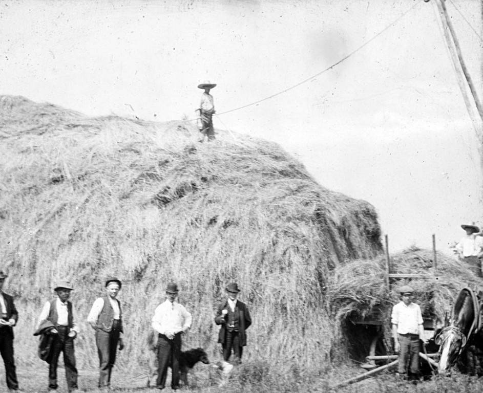 Group_of_Men_Standing_Near_a_Bale_of_Hay
