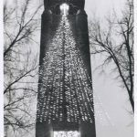 Photo of lights hung on the Fort Sheridan Tower in the shape of a Christmas tree