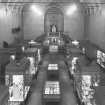 Black and white photograph of an overhead view of the Illinois State Museum's Natural History exhibit hall