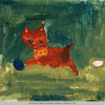 Child's watercolor painting of an orange cat