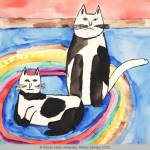 Child's watercolor painting of a black and white cat standing of a kitten of the same color