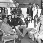 Poet Laureate Gwendolyn Brooks Participates in High School/College English Articulation Activity High School and College English Department Collaboration Activity in 1995. Pictured with Poet Laureate Gwendolyn Brooks (seated on left) are Jacobs high school senior English students and teachers Brian Stark, Mike Ryczek, and Pam Stubinger.